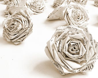 Book Paper Roses Flower Wall Backdrop Vintage Home Decor Wall Art Wedding Table Decor (Pack of 12)