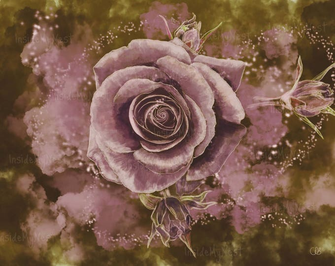 Printable Wall Art Enchanted Rose Watercolour Painting Digital Print Floral Vintage Home Nursery Decor Dusty Rose Olive Magical 300dpi