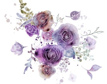 DIGITAL Purple & Rust Flower Bloom Watercolour Floral Rose Clipart Digital Paper Flowers Clip Art DIY Card Invitation