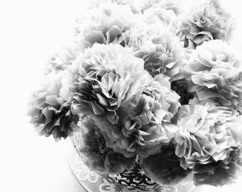 Grey Gray Tissue Paper Pom Pom Flower Wooden Sticks Table Centrepiece (Set of 12)