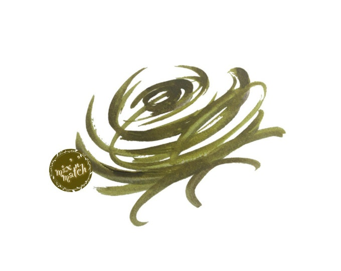 Watercolour Floral Clipart Rose Nest Logo Olive Green Sage Vintage Downloadable Printable Digital PNG 300dpi DIY Craft Art