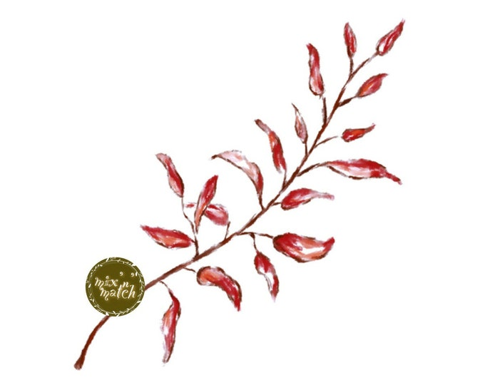 DIGITAL Red Watercolour Leaf Clipart Instant Download Logo PNG 300dpi DIY Craft Scrapbooking Invitation Card Making