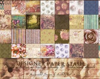 Vintage Designer Paper Stash Shabby Chic Watercolor Florals Card Making Scrapbook Journal Backgrounds Diecuts Stickers