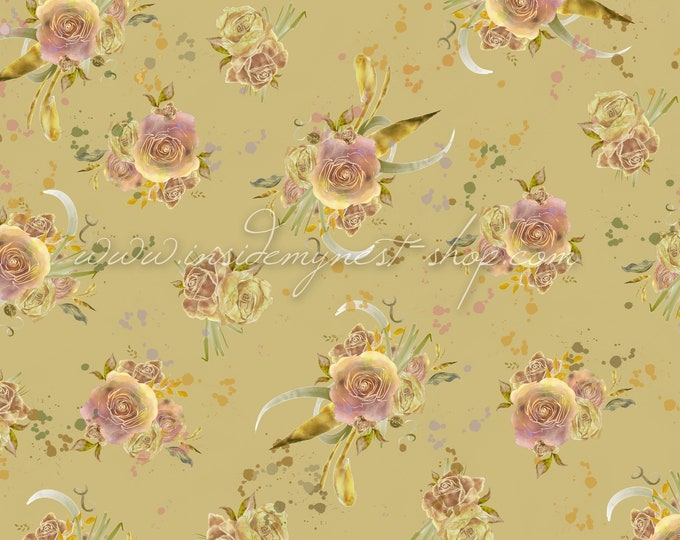 Featured listing image: Vintage Shabby Cottage Chic Floral Rose Background Digital Art Watercolour Backdrop Seamless Pattern (Large - A2 - 23.40x16.50 - 300dpi)
