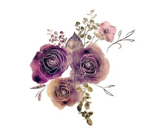 DIGITAL Dusty Pink Rose Flower Bloom Watercolour Floral Clipart Digital Paper Flowers Clip Art Planner Stickers Journal Scrapbook Art
