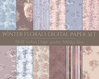 DIGITAL Winter Florals Paper Set Vintage Scrapbook 12x12 Watercolour Baby Shower Wedding Party Printable Dusty Blue Mink Blush
