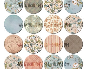 Duck Egg & Peach Floral Printable Mini Circles Digital Collage Sheet 2.5 inches Vintage Shabby Cottage Chic Journal Planner Stickers