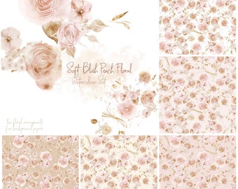 DIGITAL Flower Bloom Blush Watercolour Floral Planner Stickers Journal Papers Pattern Flowers Clipart Card Invitation Shabby Cottage Chic