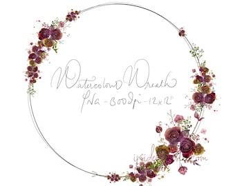 DIGITAL Flower Bloom Watercolour Flower Wreath Frame Border Logo Maroon Burgundy Marsala Wine Merlot Crimson Red (12x12) 300dpi