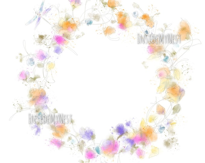 Colourful Pastel Floral Watercolour Wreath Flowers Dragonfly 300dpi JPG Handpainted Graphics DIY Invitation Scrapbooking InsideMyNest