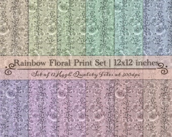 DIGITAL Vintage Scrapbook Paper Set Watercolour Floral Pastel Rainbow 12x12 Roses Flowers Handpainted Baby Shower Wedding Party Printable