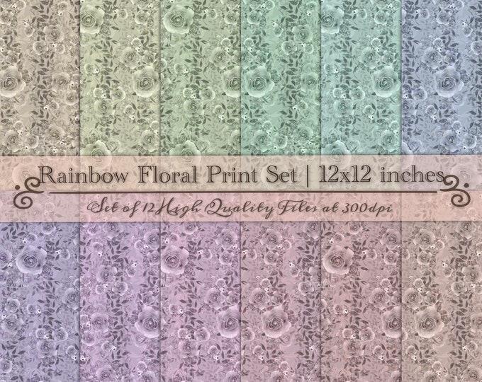 DIGITAL Vintage Scrapbook Paper Set Watercolour Floral Pastel Rainbow 12x12 Roses Flowers Handpainted Baby Shower Wedding Party Printable