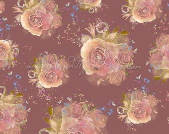 Dusty Rose Pink Vintage Shabby Cottage Chic Floral Rose Background Digital Art Watercolour Pattern (Large - A2 - 23.40x16.50 - 300dpi)