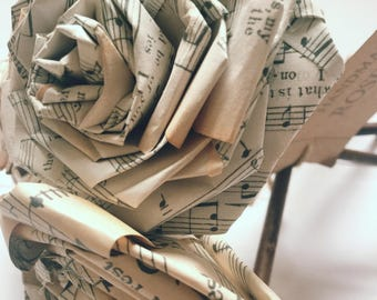 Old Music Paper Rose Bouquet Gift For Her Him Music Lover Musician Vintage Home Christmas Wedding Anniversary Birthday (Bunch of 5-6)