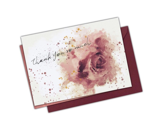 DIGITAL Thank You So Much Watercolour Vintage Rose Notecard Splatter Wedding Baby Shower Party Postcard Floral Printable 6 x 4 300dpi