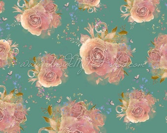 Blush Teal Vintage Shabby Cottage Chic Floral Rose Background Digital Art Watercolour Seamless Pattern (Large - A2 - 23.40x16.50 - 300dpi)