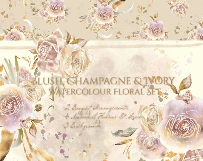 Blush Champagne & Ivory Watercolour Flower Clipart Set PNG Shabby Cottage Chic Vintage Hand-painted Digital 300dpi InsideMyNest