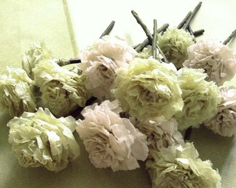 Blush Celery Green Tissue Paper Pom Pom Flower Wooden Sticks Wedding Bouquet Table Centrepiece Flower Favour (Set of 12)