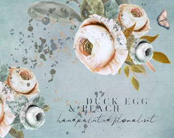 DIGITAL Duck Egg & Peach Floral Clipart Vintage Watercolour Flowers Clip Art PNG Digital Download Printable Art InsideMyNest