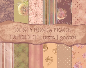 DIGITAL Dusty Rose Peach Paper Set Watercolour Floral Roses Flowers Scrapbook 12x12 Baby Girl Shower Party Printable Journal Planner Papers