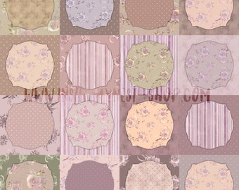 DIGITAL Mauve Shabby Floral Patchwork Paper Vintage Scrapbook Paper Set Watercolour 10x10 Roses Flowers Printable Wall Art  Pattern