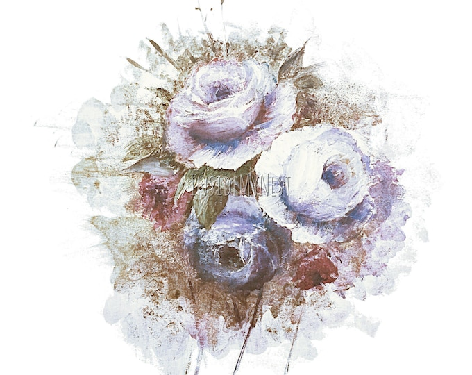 DIGITAL Old Vintage Blue Indigo Violet Rose Bloom Splatter Oil Floral Flower Clipart 300dpi PNG 8x8 Handpainted InsideMyNest