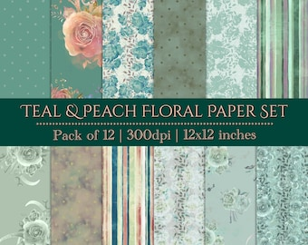 DIGITAL Teal Peach Paper Set Watercolour Floral Roses Flowers Scrapbook 12x12 Baby Shower Wedding Party Printable