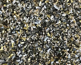 Black Champagne Blush Ivory Gold Silver Confetti Mix Gatsby New Year's Day Graduation Day Party Decor Biodegradable (25 Guests)