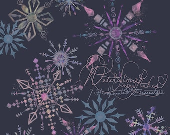 DIGITAL Watercolour Snowflake Clipart Winter Wonderland Christmas Xmas Multicoloured Handpainted Art PNG 300dpi Printable Instant Download