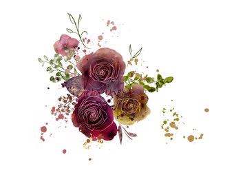DIGITAL Flower Bloom Watercolour Flowers Arrangement Bouquet Maroon Burgundy Marsala Wine Merlot Crimson Red (12x12) 300dpi