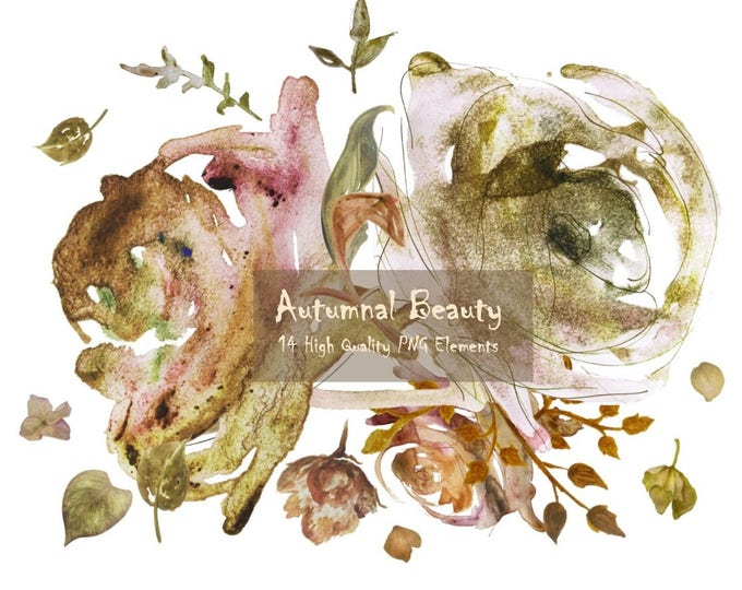 DIGITAL Autumnal Beauty Autumn Fall Watercolour Clipart Floral Art Collage PNG Printable Instant Download InsideMyNest