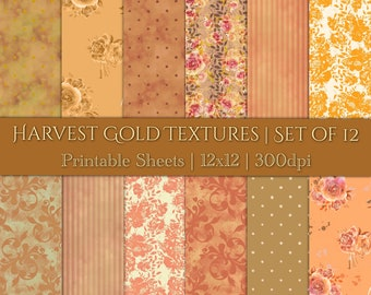 DIGITAL Harvest Gold Textures Autumn Backgrounds Scrapbook Paper Watercolour Floral Orange Amber Printable