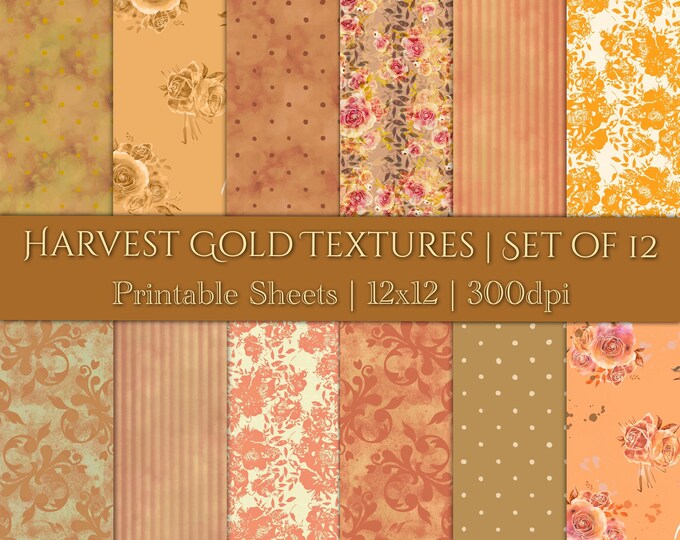 DIGITAL Harvest Gold Textures Autumn Backgrounds Scrapbook Paper Watercolour Floral Orange Amber Printable