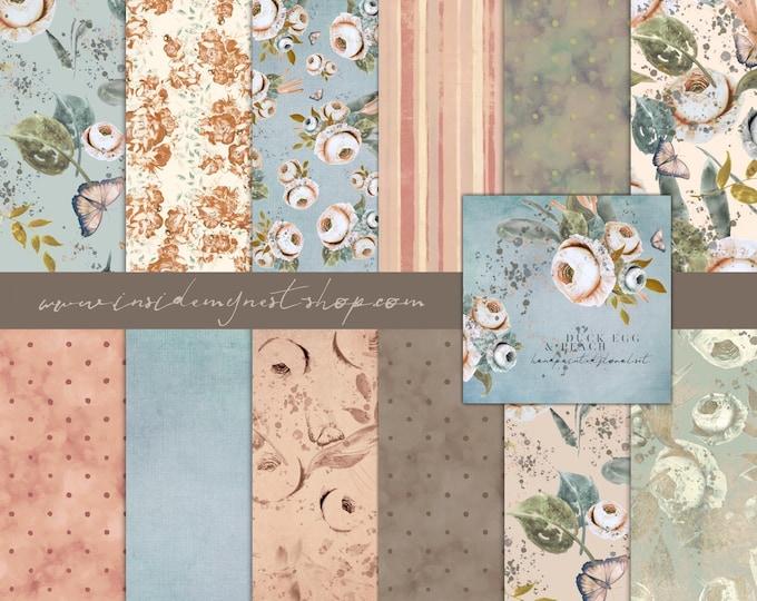 DIGITAL Duck Egg & Peach Paper Set Watercolour Floral Roses Flowers Scrapbook 12x12 Baby Wedding Party Printable