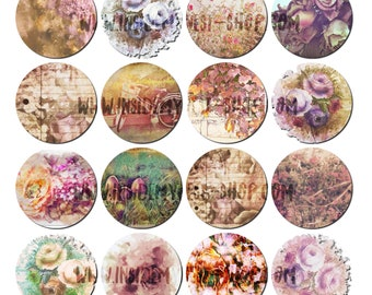 Vintage Floral Printable Mini Circles Digital Collage Sheet 2.5 inches Shabby Cottage Chic Journal Planner Stickers Cupcake Toppers Gift Tag