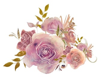 DIGITAL Watercolour Roses Flower Bouquet Arrangement Clipart Floral Blush Peach Instant Download PNG 300dpi InsideMyNest