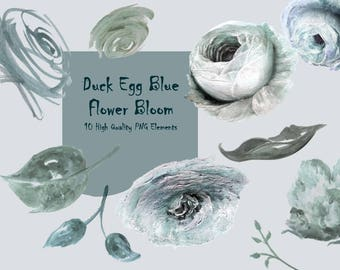 DIGITAL Duck Egg Blue Watercolour Flower Clipart Floral Invitation PNG Printable Downloadable Art Scrapbook Collage Download InsideMyNest