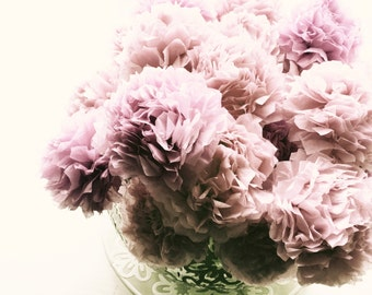 Blush Dusty Pink Tissue Paper Pom Pom Flower Wooden Sticks Party Wedding Table Decorations Centrepiece Flowers (Set of 12)