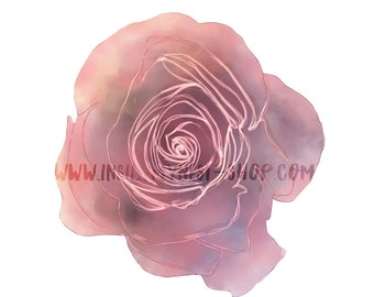 DIGITAL Watercolour Flowers Pink Rose Floral Download Scrapbook Journal Stickers PNG 300dpi DIY Craft Scrapbooking Invitation Card Making