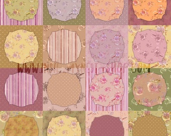 DIGITAL Shabby Floral Patchwork Paper Vintage Scrapbook Paper Set Watercolour 10x10 Roses Flowers Printable Wall Art  Pattern