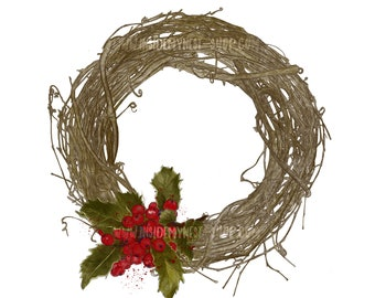 DIGITAL Handpainted Christmas Wreath Clipart Holly Leaves Red Berries Printable Instant Download PNG JPG 300DPI