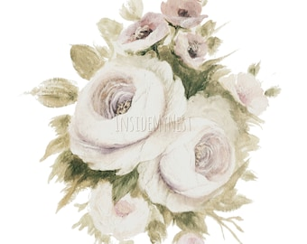 DIGITAL Dusty Rose Ivory Watercolour Floral Flower Clipart Wedding Invitation 300dpi PNG 8x8 Handpainted InsideMyNest