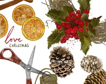 DIGITAL Watercolour Christmas Wreath Clipart Holly Leaves Pine Cone Cinnamon Dried Orange Slices Printable Instant Download PNG 300DPI