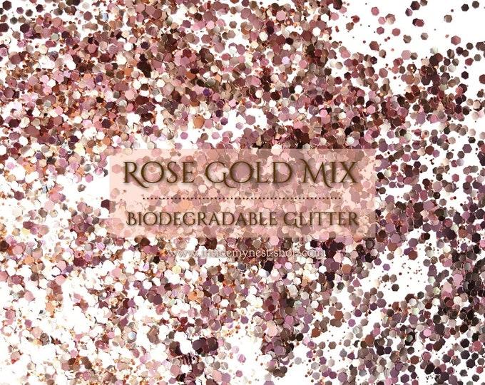 Rose Gold Mix Biodegradable Glitter Sprinkles Hexagonal Craft Art Embellishments Table Decor (20g)