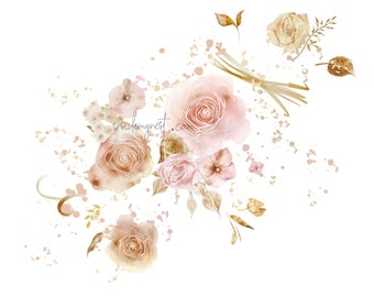 DIGITAL Flower Bloom Vintage Blush Watercolour Clipart Flowers Clip Art Printable Art Card Invitation Instant Download