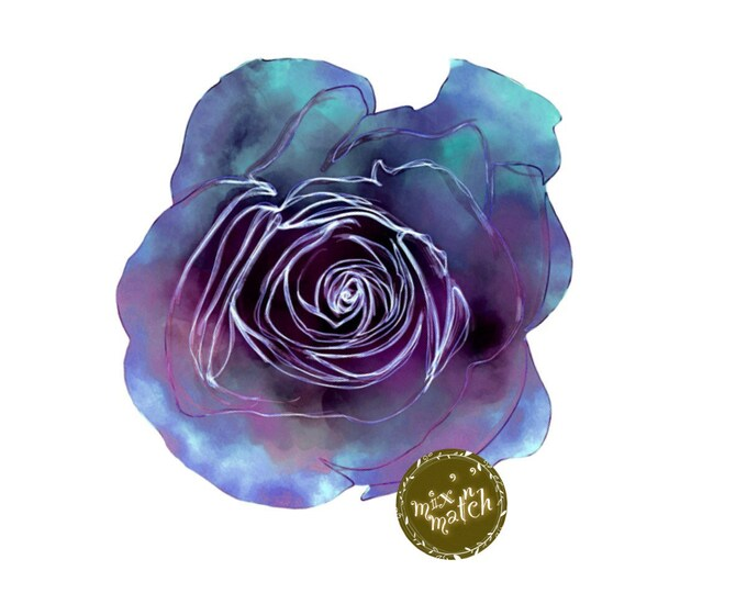 Blue Purple Watercolour Rose Flower Clipart Floral Multicoloured Two-Toned Downloadable Printable Digital PNG 300dpi InsideMyNest