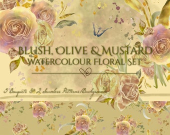 DIGITAL Blush Olive & Mustard Watercolor Floral Clipart Set PNG Roses Bouquet Arrangements Hand-painted 300dpi InsideMyNest