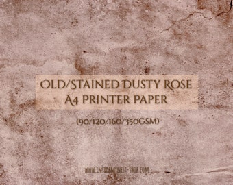 A4 Dusty Rose Old Stained Coloured Paper Double-Sided - A4-11.69x8.27 inches / 29.7x21 cm - 90gsm 120gsm 160gsm 350gsm (Pack of 25 Sheets)
