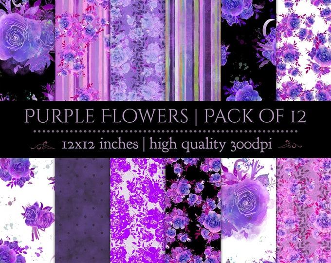 DIGITAL Paper Set Purple Watercolour Floral Roses Flowers Scrapbook 12x12 Wedding Party Printable