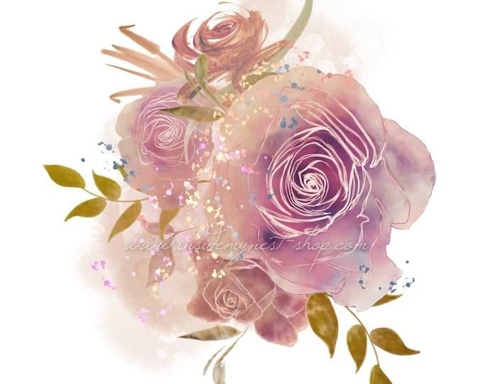 DIGITAL Watercolour Roses Flower Bouquet Arrangement Clipart Floral Blush Peach Instant Download PNG 300dpi InsideMyNest